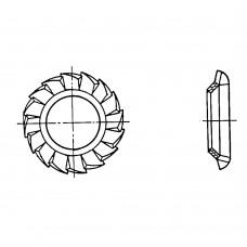 Шайба ГОСТ 10464-81 стопорная с наружными зубьями под винты с потайной и полупотайной головкой с углом 90