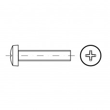 DIN 7985 Винт М5* 12 с полуцилиндрической головкой и крестообразным шлицем, сталь нержавеющая А2