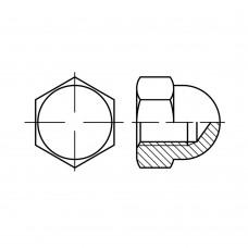 DIN 1587 Гайка 5 колпачковая, высокая, шестигранная, латунь, никель