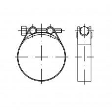 DIN 3017 Хомут 51- 55/20 червячный форма С, сталь нержавеющая 1.4016