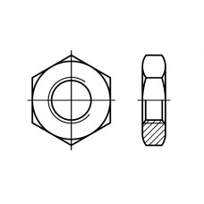 DIN 439 Гайка М16 шестигранная низкая с фаской, латунь, никель