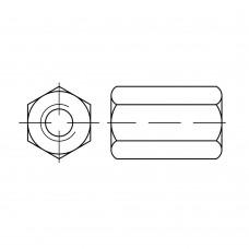 DIN 6334 Гайка 16 шестигранная, соединительная, сталь 10.9