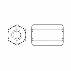 DIN 6334 Гайка 8 шестигранная, соединительная, сталь 10.9, цинк