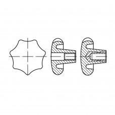 DIN 6336 Рукоять 12 звездообразная, форма К, латунь
