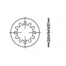 DIN 6797 Шайба 3,2 стопорная, с внутренними зубцами, сталь нержавеющая 1.4310