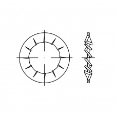 DIN 6798 Шайба 6,4 стопорная, с внутренними зубцами, сталь нержавеющая 1.4310