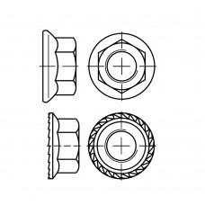 DIN 6923 Гайка М4 шестигранная с фланцем, сталь нержавеющая А4