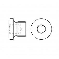 DIN 908 Пробка 8* 1 резьбовая с фланцем, сталь 5.8, цинк