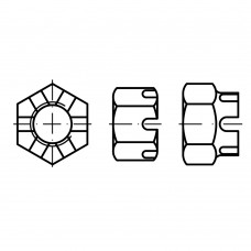 DIN 935 Гайка М10 корончатая, сталь