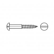 DIN 96 Шуруп 3,5* 20 с полукруглой головкой, прямой шлиц, латунь, никель