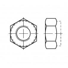 ISO 10511 Гайка 24 шестигранная с нейлоновой вставкой, сталь нержавеющая А2