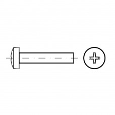 ISO 7045 Винт 5* 16 c полукруглой головкой крестообразный шлиц PH, сталь нержавеющая А2
