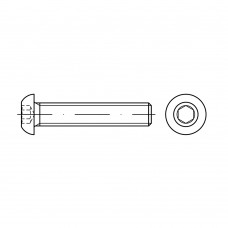 ISO 7380-1 Винт 6* 25 полукруг внутренний шестигранник, сталь нержавеющая А2