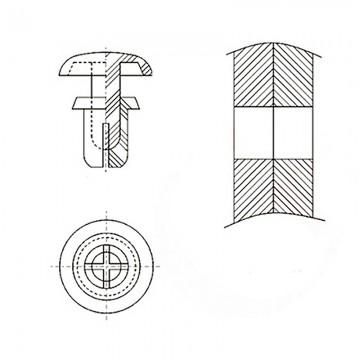 8G4023.5* 4.1 Пистон монтажный 3,5* 5,5 полукруг увеличенный, черный, нейлон (под панель 3,2-4,1)