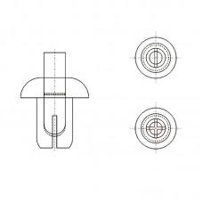 8G4054.0* 4.5 Пистон монтажный 4* 6 полукруг нажимной, белый, нейлон (под панель 3,5-4,5)