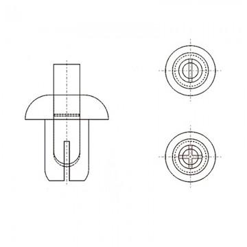 8G4054.0* 4.5 Пистон монтажный 4* 6 полукруг нажимной, черный, нейлон (под панель 3,5-4,5)