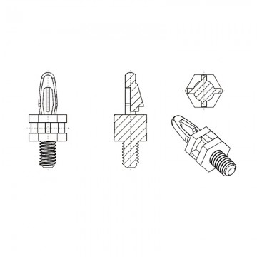 8G504М4* 19.1BV0 Cтойка М4* 19,1 c защелкой D4 черный, нейлон (под панель 1,57 мм, SW=8)