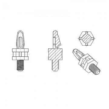 8G504М4* 9.5NV0 Cтойка М4* 9,5 c защелкой D4 белый, нейлон (под панель 1,57 мм, SW=8)