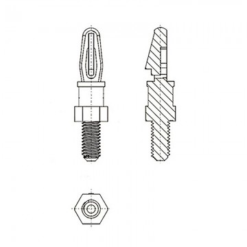 8G5056-32* 14.3N Cтойка 6-32* 14,3 c защелкой D3 белый, нейлон (под панель 1,57 мм, SW=4,8, UNC)