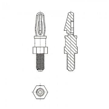 8G5056-32* 4.8N Cтойка 6-32* 4,8 c защелкой D3 белый, нейлон (под панель 1,57 мм, SW=4,8, UNC)