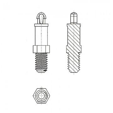 8G506М4* 6.4B Cтойка М4* 6,4 c защелкой D2,5 черный, нейлон (под панель 1,57 мм, SW=4,8)