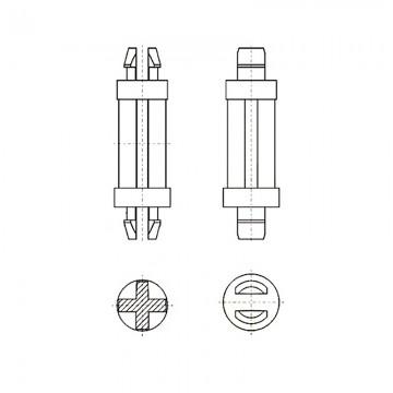 8G8014.0* 25.4N Фиксатор платы с защелкой 4* 25,4 белый, нейлон (под панель 1,6)