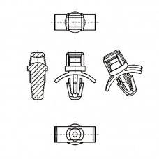 8G905V60181 Фиксатор кабеля в плату с защелкой с отверстием 4 (под панель 0,79-1,98)