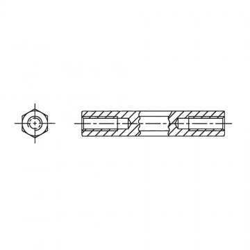 114* 12 Стойка М3* 12 шестигранная, латунь, никель (вн/вн, SW=5,5)