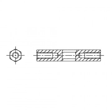 149* 100 Стойка М6* 100 шестигранная, сталь нержавеющая (вн/вн, SW=10)