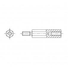2103* 05/6 Стойка 4-40/М3 шестигранная, латунь, никель (вн/нар, SW=5, UNC)