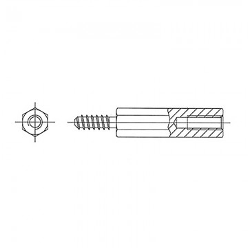 214ST3.3* 12 Стойка-саморез М3* 12* 18 шестигранная, латунь, никель (вн/нар, SW=5,5)