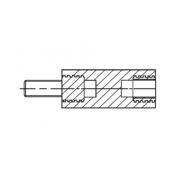 218139* 25 Стойка М6* 25* 37 полиамид с латунным сердечником (вн/нар, SW=13)
