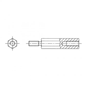 224* 40 Стойка М3* 40* 46 шестигранная, сталь, цинк (вн/нар, SW=5,5)