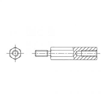 227* 25 Стойка М4* 25* 33 шестигранная, сталь, цинк (вн/нар, SW=8)
