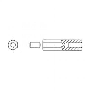 238* 45 Стойка М5* 45* 53 шестигранная, алюминий (вн/нар, SW=8)