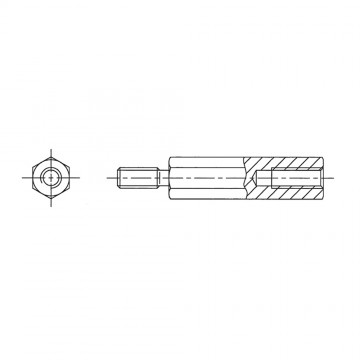 238* 60 Стойка М5* 60* 68 шестигранная, алюминий (вн/нар, SW=8)