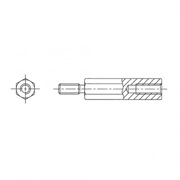 249* 45 Стойка М6* 45* 55 шестигранная, сталь нержавеющая (вн/нар, SW=10)