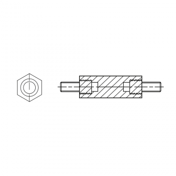 4181510* 40 Стойка М8* 40/14 шестигранная, латунь (нар/нар, SW=15)