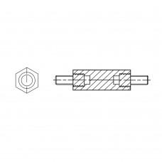4182* 20 Стойка М5* 20/8 шестигранная, латунь, никель (нар/нар, SW=8)