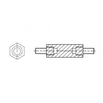 4182* 30 Стойка М5* 30/8 шестигранная, латунь, никель (нар/нар, SW=8)